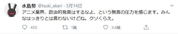 關於 水島努 與 水島精二 在twitter發表反對檢察廳法改正案與支持香港民主化